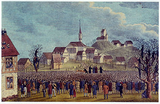 Uster - Ustertag on 22 November 1830, the castle and the church in the background