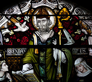 Brendan of Birr - Stained glass window depicting St. Brendan in St. Brendan's Church, Birr.