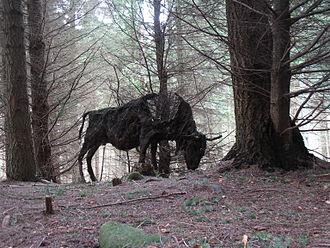 Green spaces and walkways in Aberdeen - Sculpture of European Bison by Sally Matthews, Tyrebagger sculpture park
