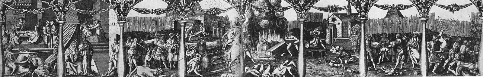 Længst til venstre illustreres den forræderiske kongebanket (scene 1) og hvordan dåden planlægges af Kristian II og ærkebispen Gustav Trolle (scene 2).   Så følger blodbadet på Stortorget i Stockholm (scene 3) og hvordan Sten Sture den yngres kiste tages ud af graven og de henrettedes kroppe transporteres ud af byen (scene 4).   På scene 5 visummers hvordan lige svies på bål og scene 6 fortæller om den følgende massakre på Nydala klostre.   Til højre synes hvordan to unge ædlinger, drengene Ribbing, henrettes med sværd (scene 7) og endeligt hvordan Gustav Vasa med sine Dalarna-mænd uddriver danskerne ud af landet.