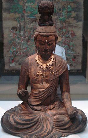 Kaikei - Kaikei, wooden bodhisattva statue with lacquer, gold, copper, and crystal