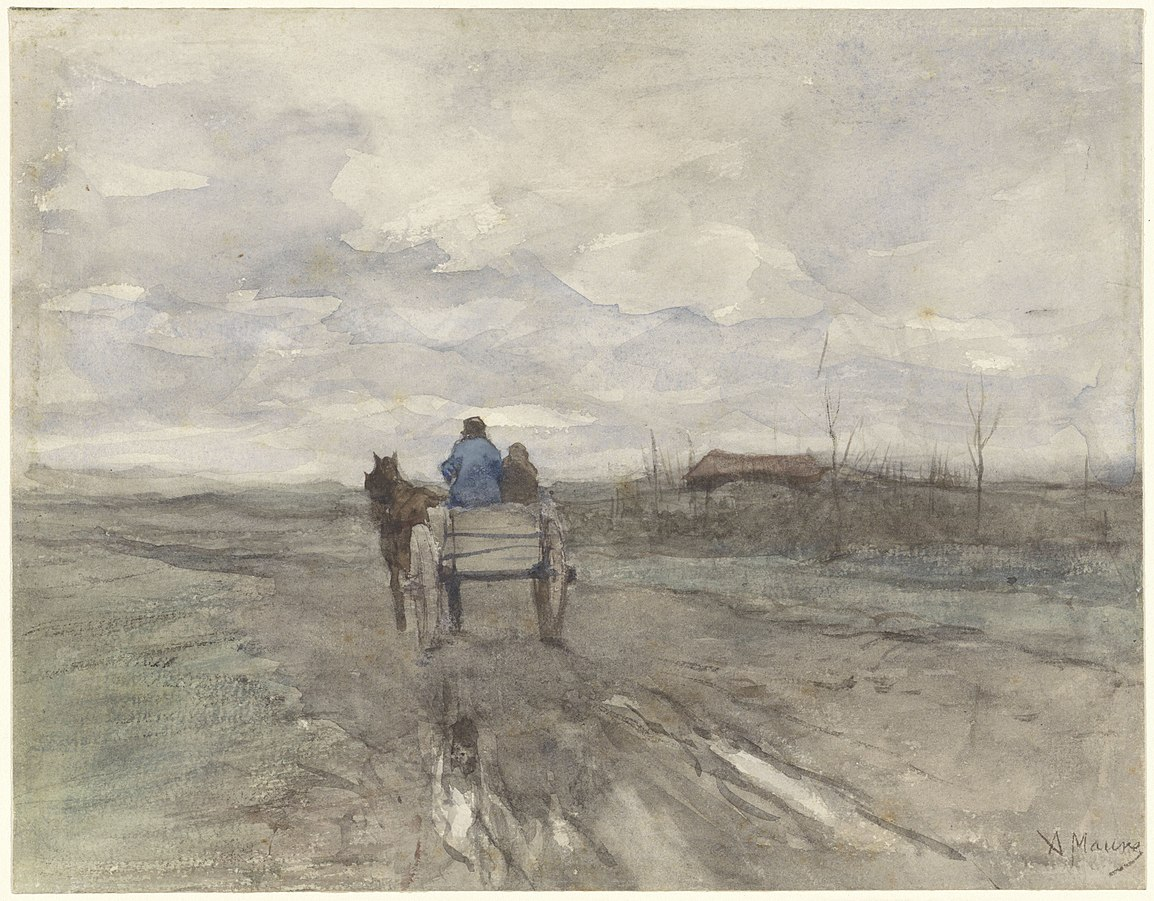 Charrette de paysan sur une route de campagne