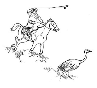 Bolas - A hunter using bolas while mounted on a horse.