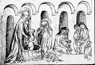 Anne of Bohemia, Duchess of Silesia - Hedwig of Andechs baptizing her grandson Bolesław II; Anne of Bohemia attending