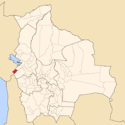 Location of José Manuel Pando Province within Bolivia