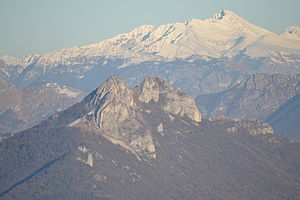 Triangolo lariano - Mounts Corni di Canzo (Canzo's Horns) (in the foreground), with Pizzo dei Tre Signori in the background.