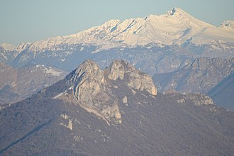 Triangolo lariano - Mounts Corni di Canzo (Canzo's Horns) (in the foreground), with Pizzo dei Tre Signori in the background.