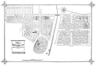 Bon Air, Virginia - 1882 map of Bon Air, showing the depot, hotel and annex, and dance pavilion, as well as the streets and undeveloped residential parcels
