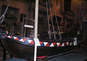 Military history of the Russian Empire - Model of the boat Peter the Great discovered around 1688. Located at the Central Naval Museum, St. Petersburg.