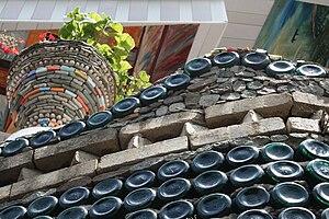 Bottle wall - Detail of a bottle house in Azerbaijan