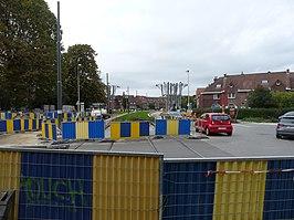 Bouw van tramlijn 9 in de omgeving van de halte Eeuwfeestsquare (2017).