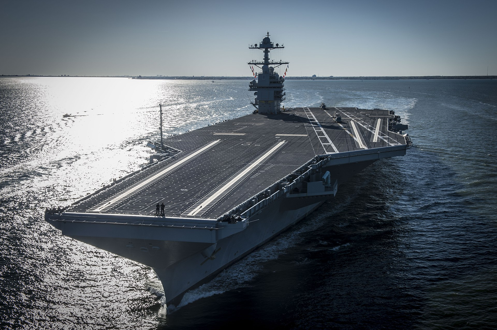 Bow view of USS Gerald R Ford CVN-78 underway on 8 April 2017JPG
