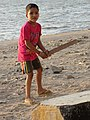 Boy Plays Cricket on the Seashore - Mahim (West) District - Mumbai - Maharashtra (25768860823).jpg