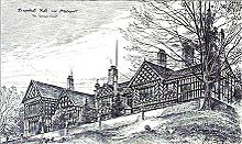 A sketch of the exterior of the side of a large building atop a hill with a tree in the foreground.