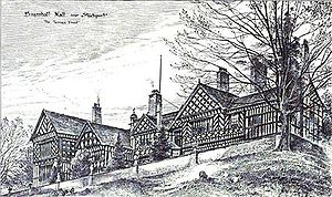 Thomas Raffles Davison - Sketch of the south end of Bramall Hall