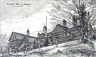 Thomas Raffles Davison - Sketch of the south end of Bramall Hall