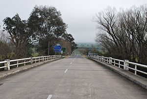 Murray Valley Highway - The eastern terminus of the Murray Valley Highway at the Bringenbrong Bridge near Corryong, Victoria.