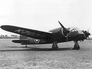 Bristol Blenheim - The first production Type 142M with the military serial registration K7033, which served as the only prototype and made its first flight in June 1936.