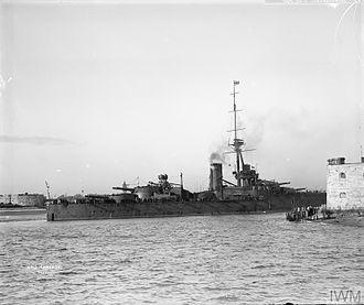 HMS Monarch (1911) - Monarch entering Portsmouth harbour, 1913