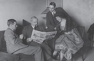 Ernest Belcher - Major Belcher with Archie (far left) and Agatha Christie on the British Empire Exhibition Tour in 1922