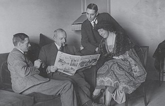 Archie Christie - The British Empire Exhibition Tour. From left to right – Archie Christie, Major Belcher, Mr Bates (secretary) and Agatha.