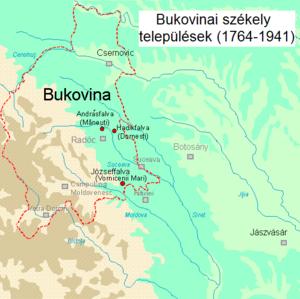 Székelys of Bukovina - Székely villages in Bukovina