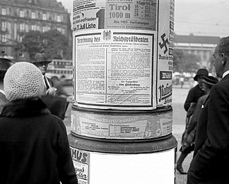 Preußenschlag - An emergency decree as declared by Paul von Hindenburg on an advertising column in Berlin. Prussian government officials, including Severing, Grzesinsky, Weiss and Heimannsberg, were all arrested during the coup by military authorities.