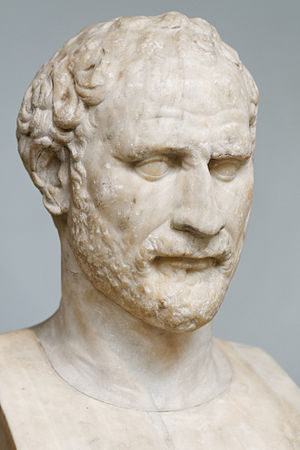 Demosthenes - Bust of Demosthenes (British Museum, London), Roman copy of a Greek original sculpted by Polyeuktos.