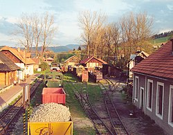 Station of the Čierny Hron Railway, a narrow gauge railway