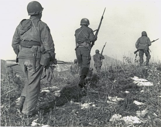 C Co, 1st Bn 5th Cavalry advances on Hill 45, 29 Jan 1951