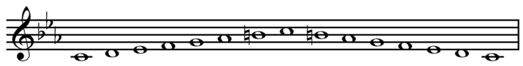 C harmonic minor scale ascending and descending.png