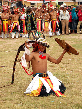 Indonesian martial arts - Caci warrior holding a rattan whip and shield.