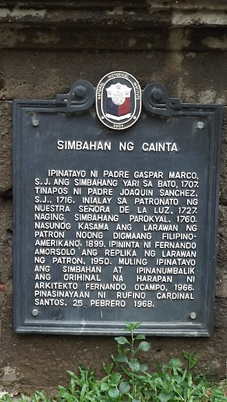Our Lady of Light Parish Church - The 2007 marker declaring Cainta Church a historical site for its role during the Filipino-American War.