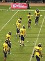 Cal prepares to kick off at 2008 Emerald Bowl.JPG