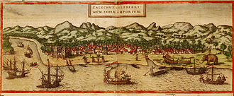 History of the Indian Navy - A panorama of Calicut, on the Malabar coast, shows several types of ships, shipbuilding, net fishing, dinghy traffic and a rugged, sparsely populated interior. BRAUN AND HOGENBERG, CIVITATES ORBIS TERRARUM, 1572 (2)