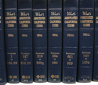 California Penal Code - Volumes of the Thomson West annotated version of the California Penal Code; the other popular annotated version is Deering's, which is published by LexisNexis