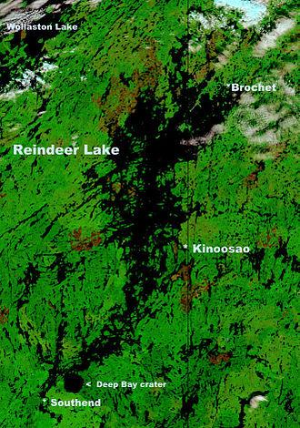 Southend, Saskatchewan - Location of Southend on a NASA satellite map of Reindeer Lake