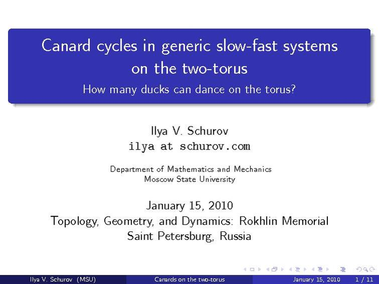 File:Canard cycles on the two-torus (slides, I. Schurov).pdf