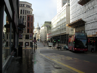 Cannon Street - Looking west towards St. Paul's Cathedral, close to the entrance to Cannon Street station (2006)