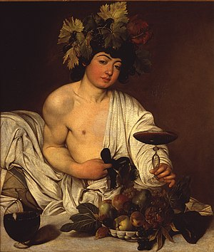 Jesus in comparative mythology - Caravaggio's Bacchus (the Roman adaptation of Dionysus) with grapes, c. 1595