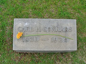 Carl Conrads - Image: Carl H. Conrads Gravestone, Fairview Cemetery, West Hartford, CT May 2016