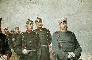 Militarism - Prussian (and later German) Chancellor Otto von Bismarck, right, with General Helmuth von Moltke the Elder, left, and General Albrecht von Roon, centre. Although Bismarck was a civilian politician and not a military officer, he wore a military uniform as part of the Prussian militarist culture of the time. From a painting by Carl Steffeck