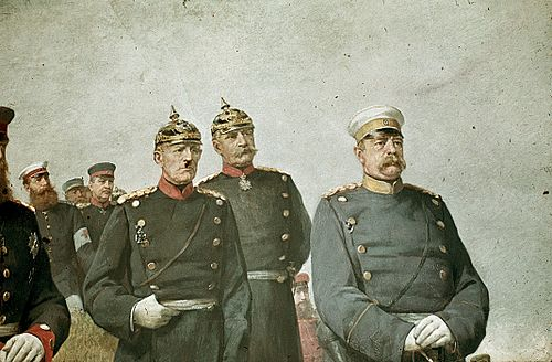 Prussian (and later German) Chancellor Otto von Bismarck, right, with General Helmuth von Moltke the Elder, left, and General Albrecht von Roon, centre. Although Bismarck was a civilian politician and not a military officer, he wore a military uniform as part of the Prussian militarist culture of the time. From a painting by Carl Steffeck Carl Steffeck-Reille1884,Ruhmeshalle-3.JPG