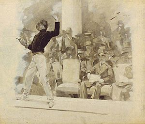 Fencing at the 1896 Summer Olympics - Fencing before the king of Greece, 1896, by André Castaigne