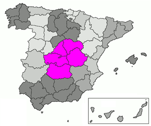 New Castile (Spain) - Map of Castilla la Nueva between 1851 and the 1980s