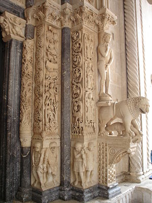 Trogir Cathedral - Image: Cathedral of St. Lawrence, Trogir entrance detail (left side)