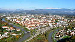 Celje from Celje Castle in 2004