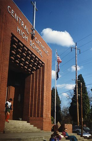 Central Catholic High School (Portland, Oregon) - Central Catholic entrance, 1991