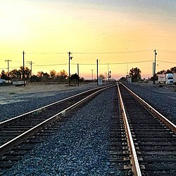 Railroad tracks passing through Chowchilla