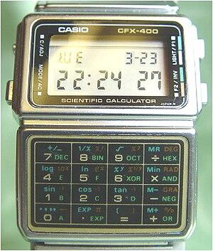 Calculator watch - Casio CFX-400 Scientific calculator watch circa 1985